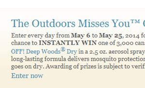 Enter to Win FREE OFF! Deep Woods Dry (3,000 Winners)