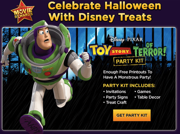 right now on disney movie rewards you can pick up the toy story of terror party pack for free the pack holds activities decorations including signs