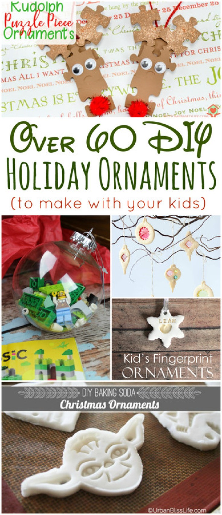 Over 60 DIY Holiday Ornaments to make with your kids this holiday season! #Christmas #ornaments #DIY #handmade