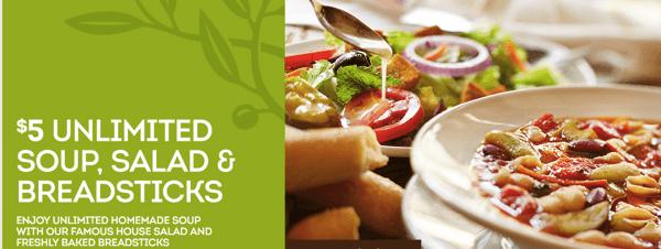 Olive Garden Coupons | $5 Unlimited Soup, Salad & Breadsticks & More ...