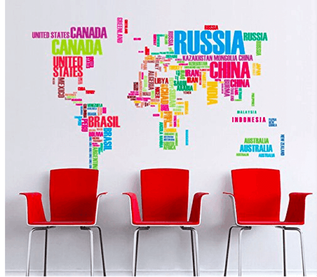 Amazon world map wall sticker just 1499 the centsable shoppin amazon world map wall sticker just 1499 gumiabroncs Choice Image
