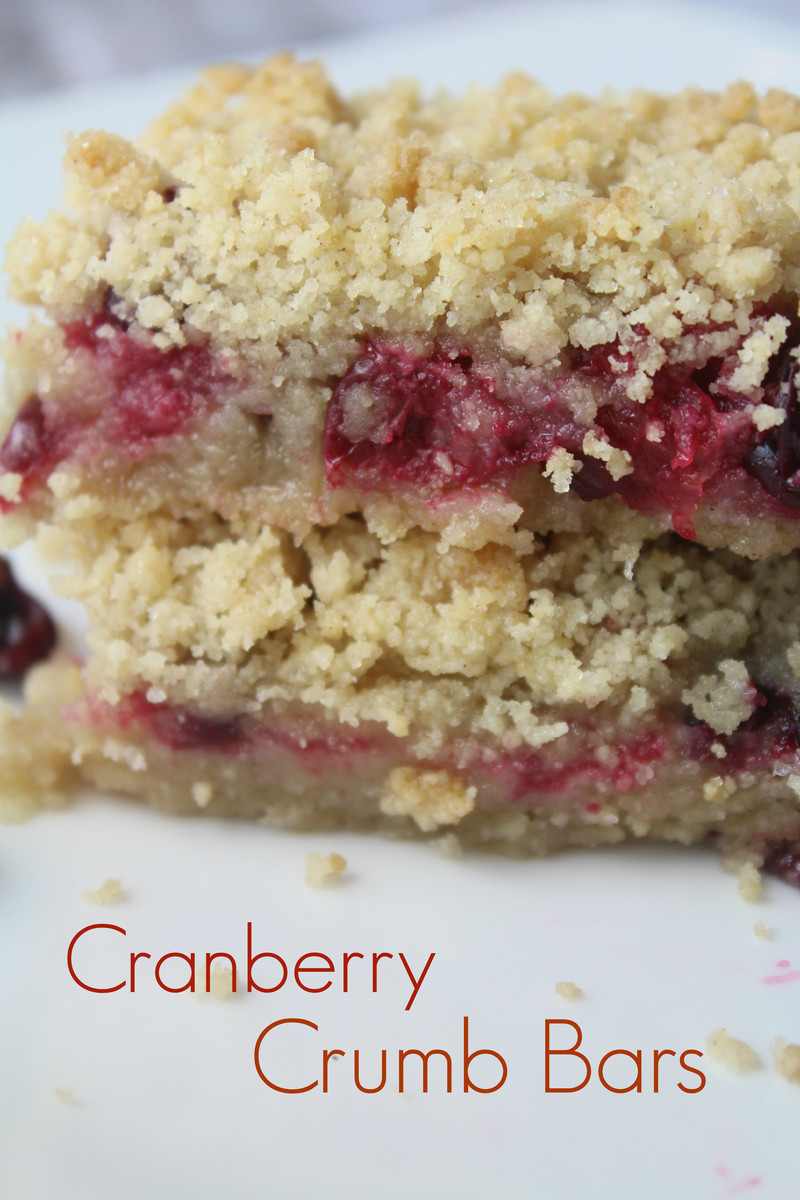 Celebrate the season with cranberry crumb bars! They are easy to make and can be cut into mini squares for a party dessert tray. #cranberries #dessert #holidaybars
