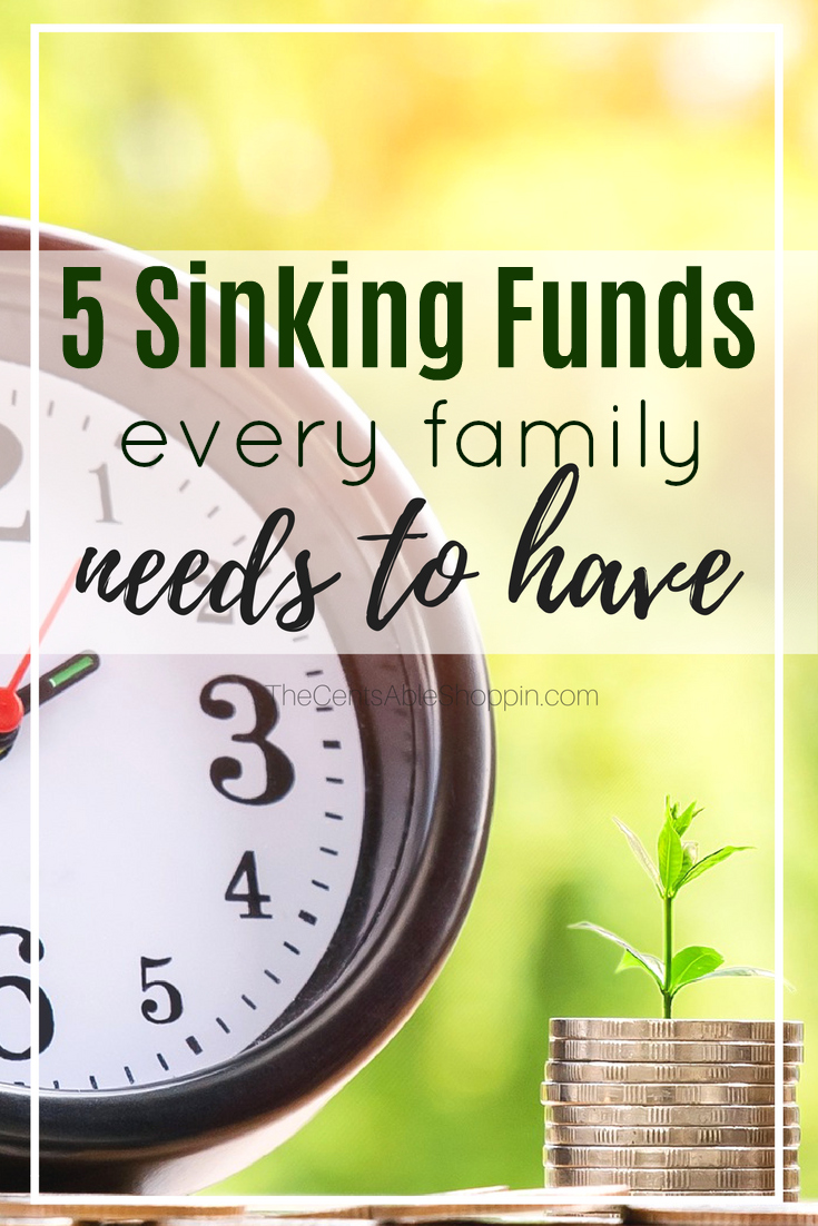 A sinking fund won't actually sink your budget. It's a must for any family. Here are 5 important sinking funds that every family needs to have.