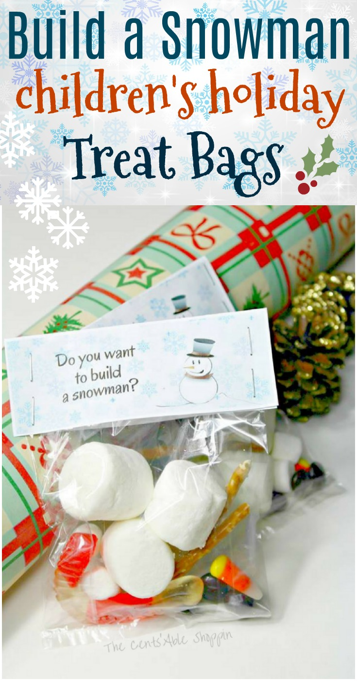 These Build a Snowman Children's Holiday Treat Bags are an adorable way to help kids get in the spirit of the holiday season.  Assembled with just a few simple items, they would be a wonderful idea for classrooms, youth groups & more!  #children #kids #snowman #christmas #holiday #treatbag