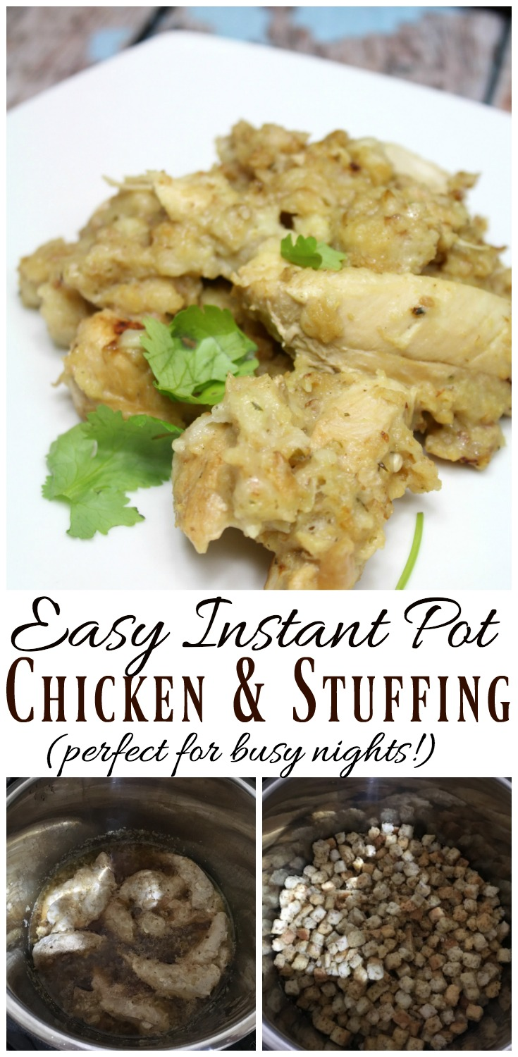 An easy, one pot chicken and stuffing meal that is perfect for busy nights!  #chicken #stuffing #InstantPot #easymeals