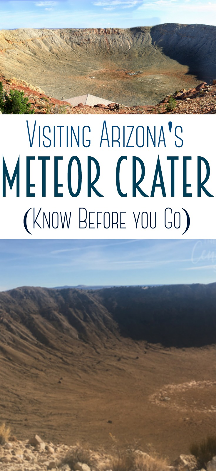 Arizona's Meteor Crater - Over 50,000 years ago, Northern Arizona had a meteorite impact that created a crater 3,900 feet in diameter and 560 feet deep. This is truly an amazing sight! #arizona #meteorcrater #roadtrip #winslow #history #crater #meteor