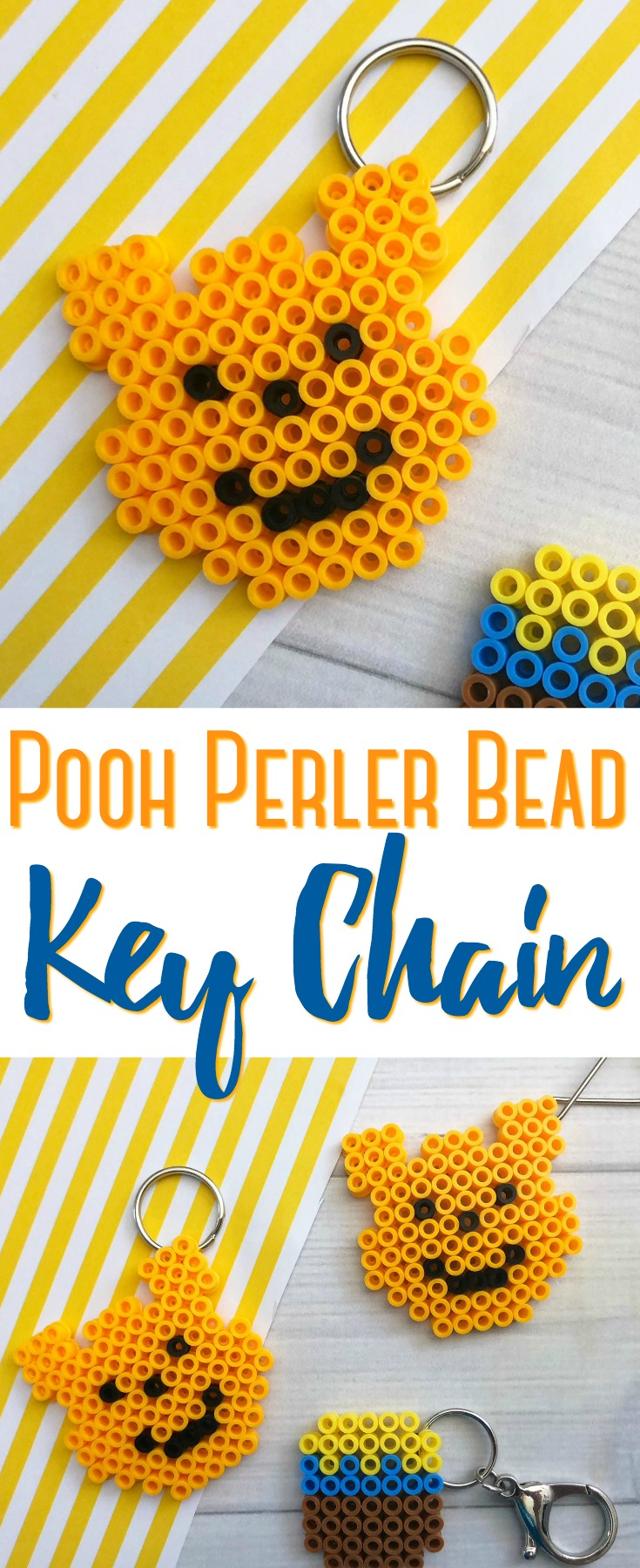 This Pooh Perler Bead Keychain is simple to make and surprisingly cute to make year round! They are a fun way to keep kids busy on hot or rainy days!
