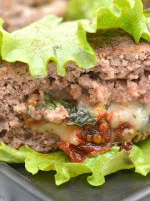 Keto Caprese Stuffed Burgers Recipe