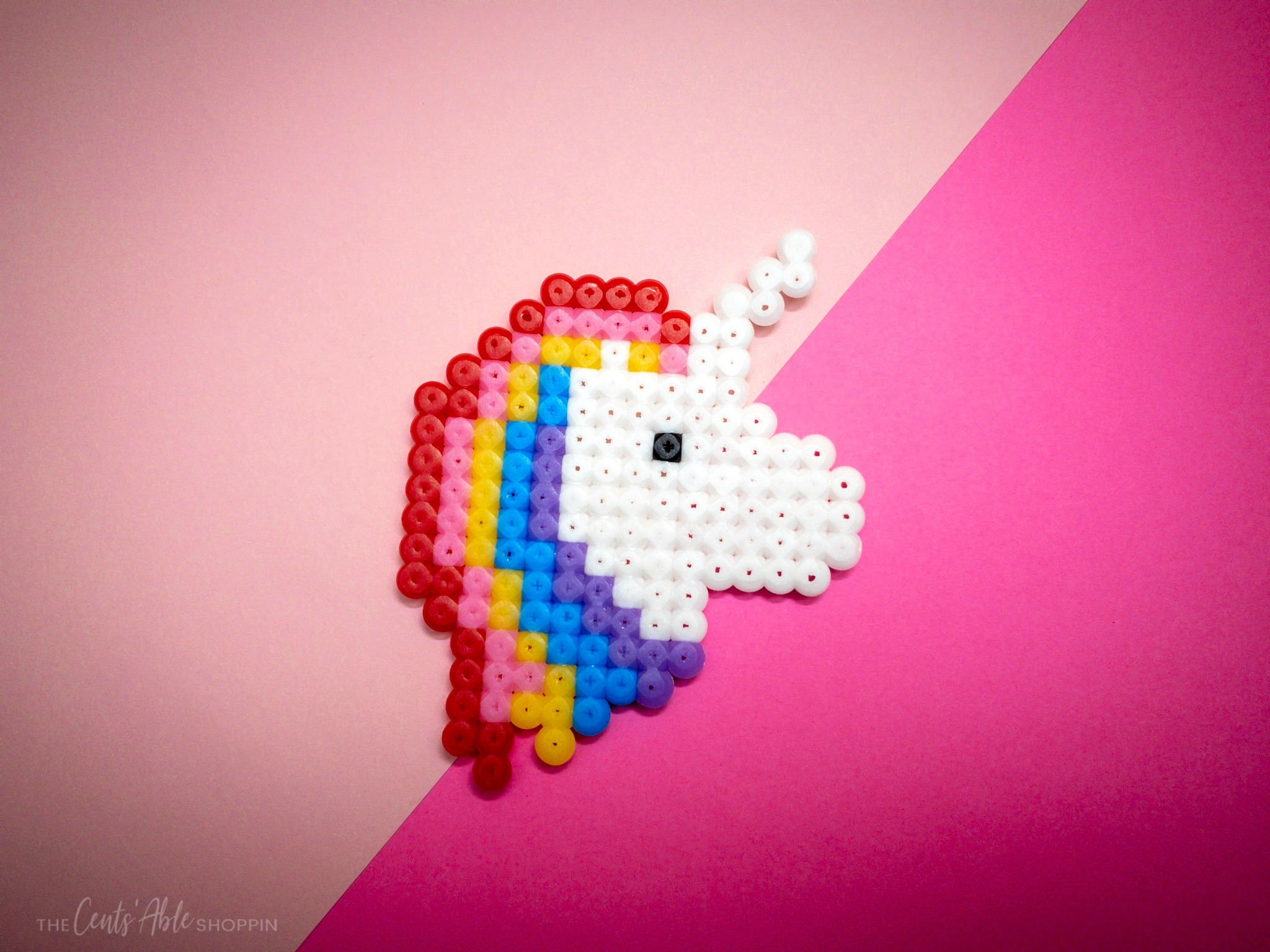 This perler bead unicorn is a cute project that will help kids develop fine motor skills, patience and artistic design!