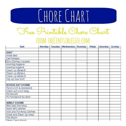 Chores Allowances – Printable T Chart