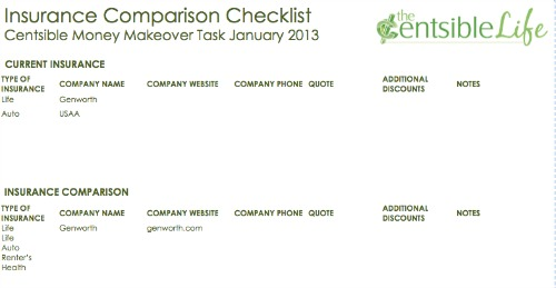 Insurance Comparison Checklist