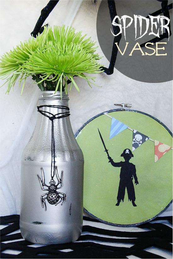 Upcycled glass bottle to Halloween vase
