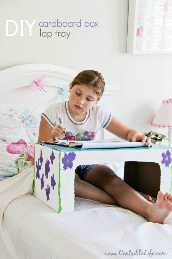 DIY Cardboard Box Lap Tray | via centsbilelife.com