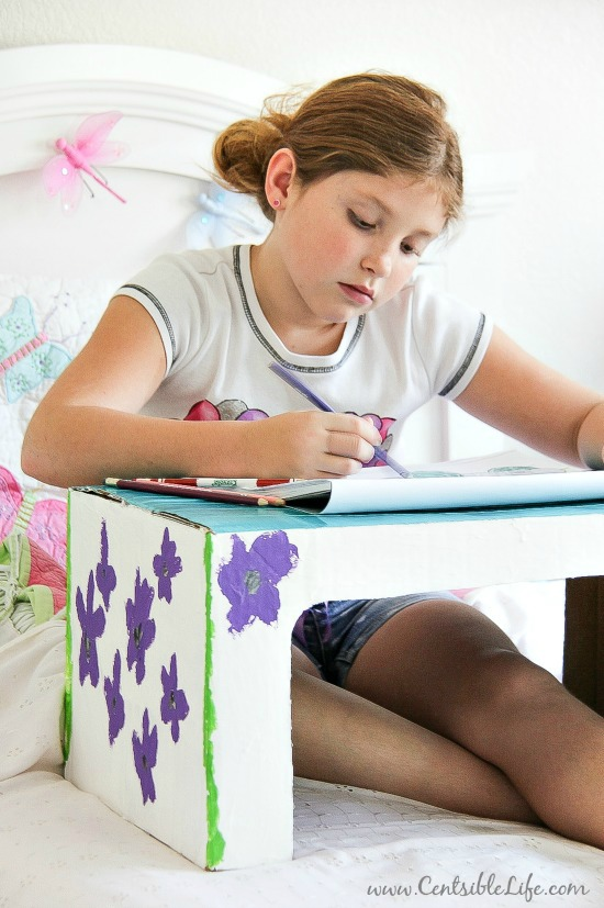 How to make a cardboard box lap tray for kids