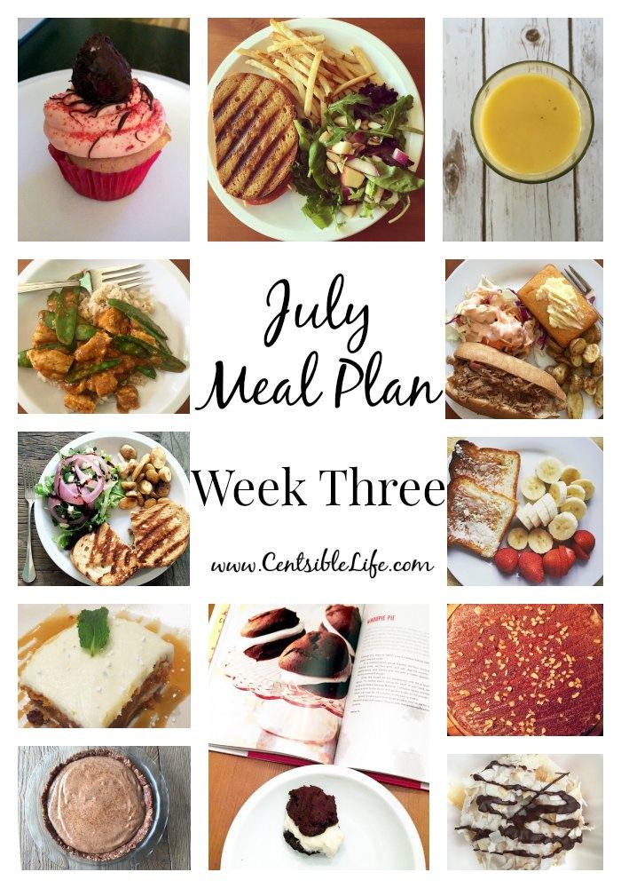 July Meal Plan Week Three