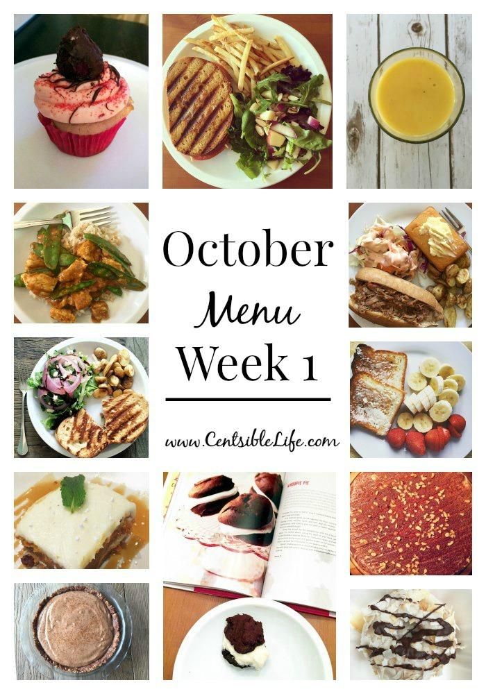 October Menu Plan Week 1