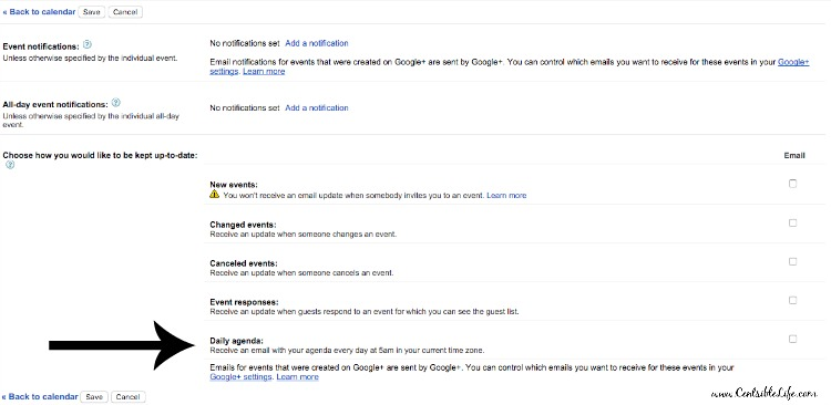 Setting up daily agenda email Google calendar