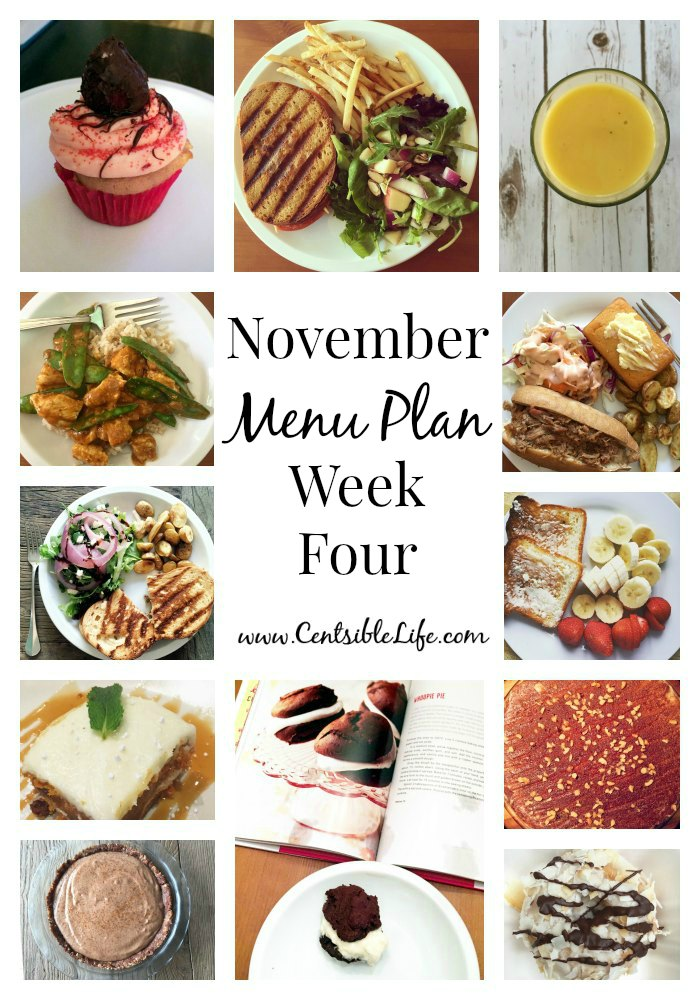 November Menu Plan Week Four