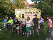 Half way point, the riders stop for refreshments at Chabad CU Sukka on the Norlin Quad