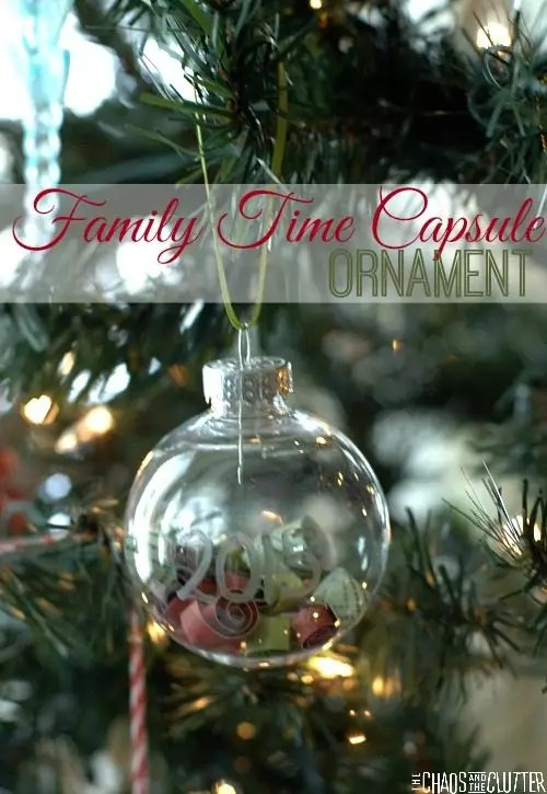 Capture your family's memories from the year into a keepsake ornament that can be opened in future years. A time capsule that can be hung on your Christmas tree!