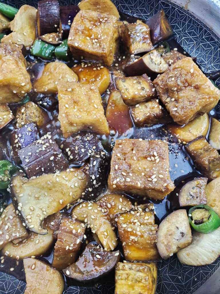 Another close up overhead photo of the teriyaki eggplant & mushroom