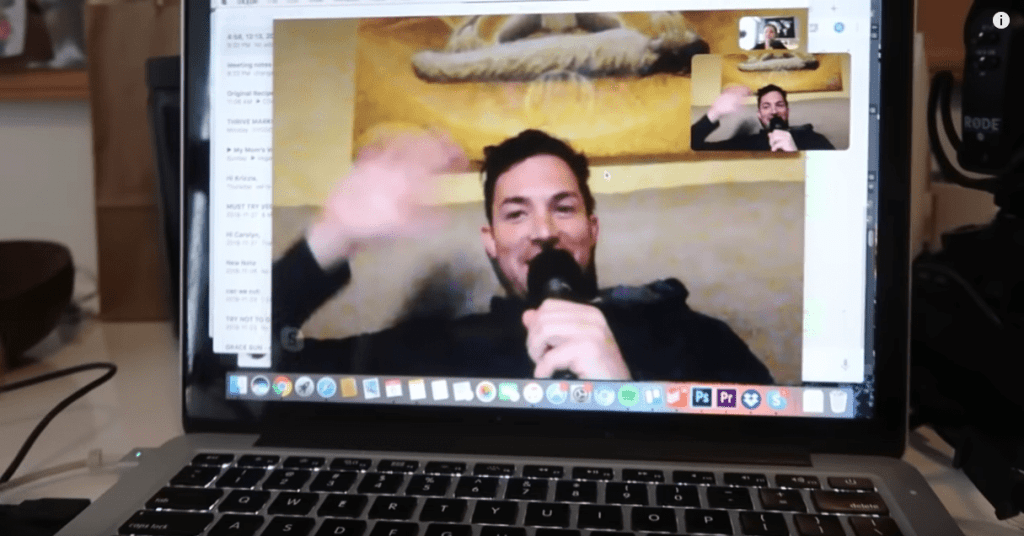 A video call with Daniel on Rose's laptop screen for quarantine tip #1