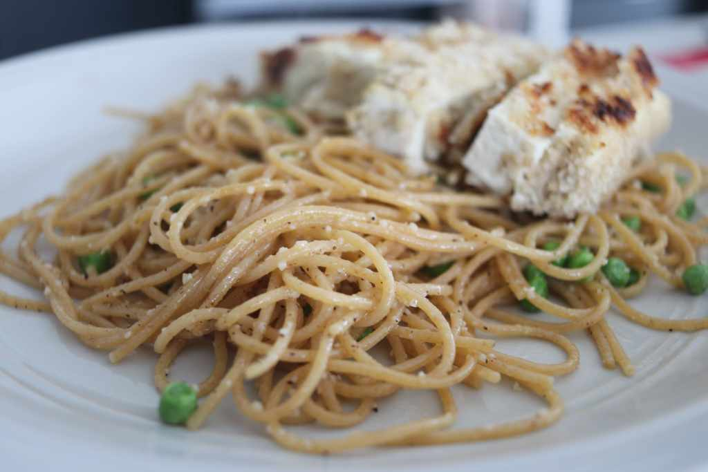 photo of the garlic butter pasta with breaded tofu on top