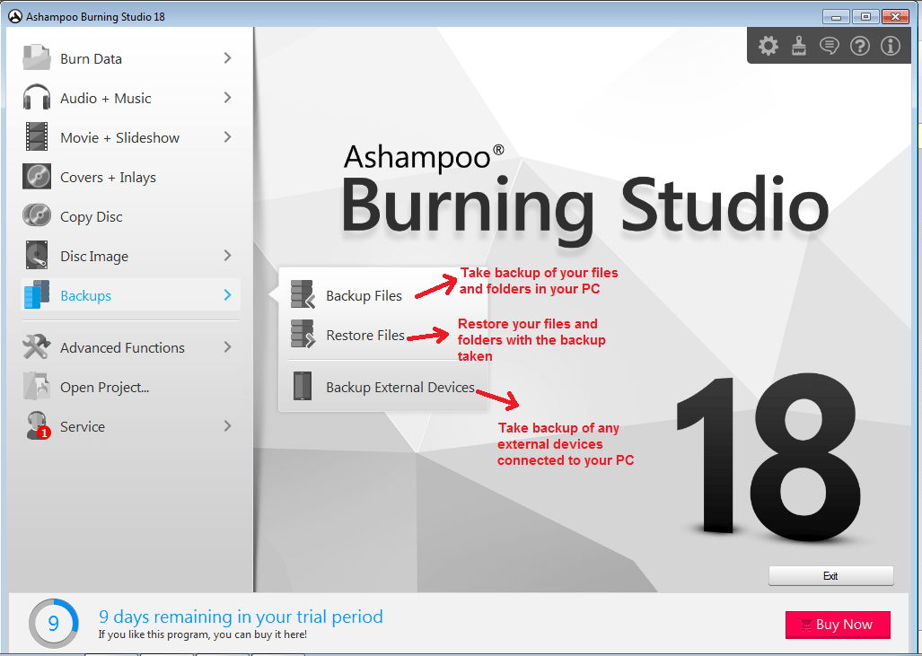 Ashampoo Burning Studio backup
