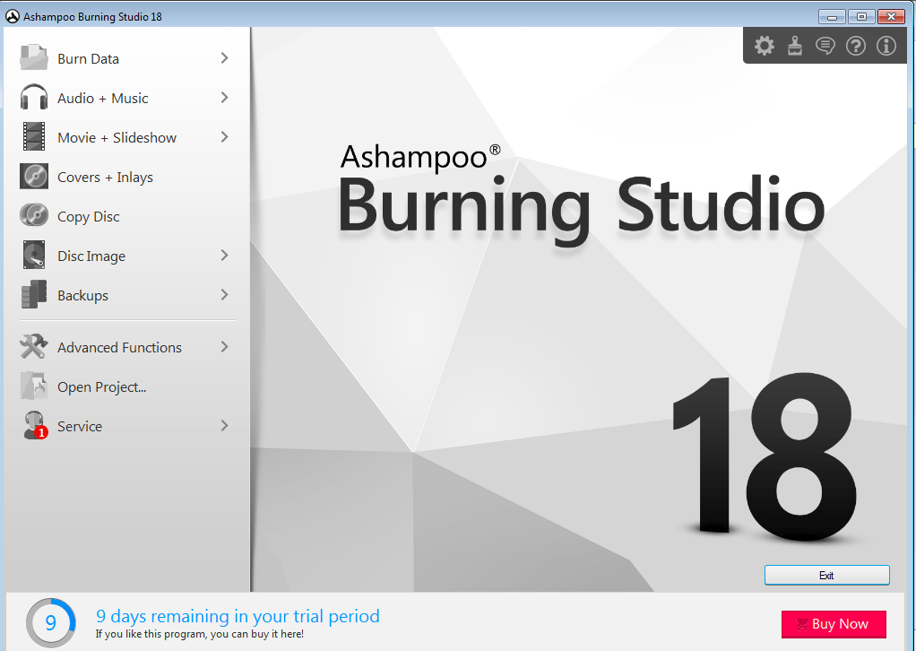 Ashampoo Burning Studio main