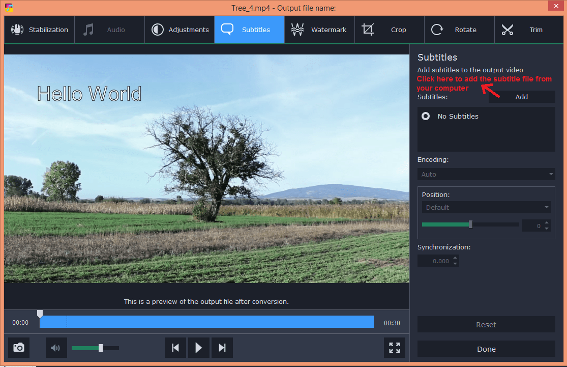 movavi video converter edit subtitle