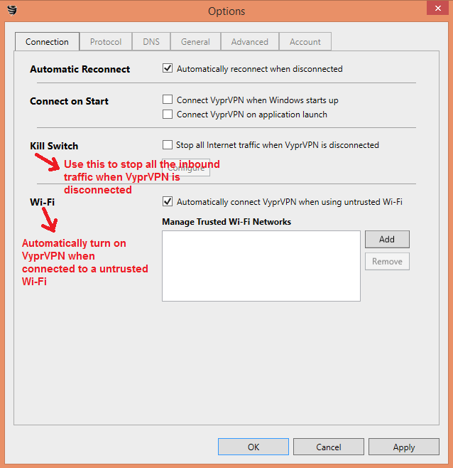 VyprVPN settings