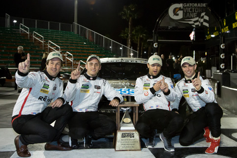 It was after dark when Level 5 were able to celebrate GTD victory (Courtesy of IMSA)