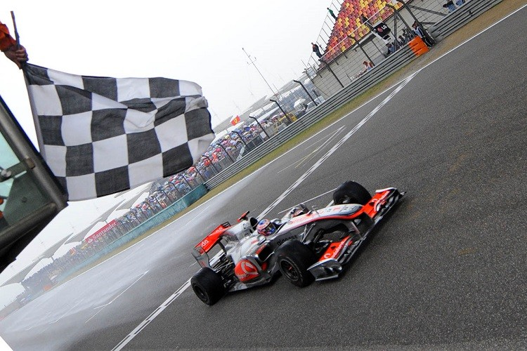 Jenson Button was victorious in China in 2010 (Credit: GOH CHAI HIN/AFP/Getty Images)