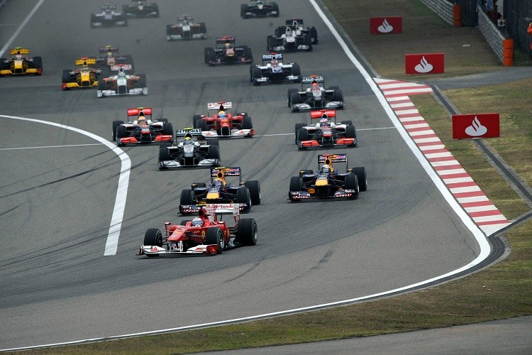 Fernando Alonso jumped the start to lead into the first corner (Credit: Ferrari SPA)