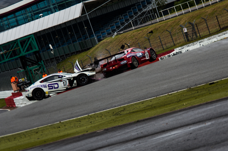 Eastwood couldn't avoid the #17 fast enough and hit the front of the Aston (Credit: Nick Smith/TheImageTeam.com)