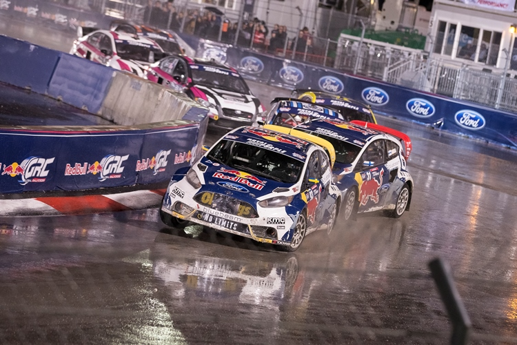Ken Block's title challenge was derailed in Barbados - Olsbergs MSE dominated the season finale in Las Vegas - Credit: Chris Tedesco/Red Bull Content Pool