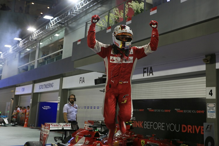 Sebastian Vettel took three wins on his way to third in the championship (Credit: Octane Photographic Ltd)