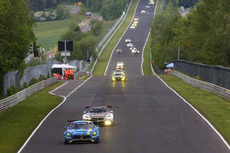 The action was fierce in the lead SP9 class with Black Falcon fending off the competition (Credit: Gruppe C/Nurburgring 24 Hours)