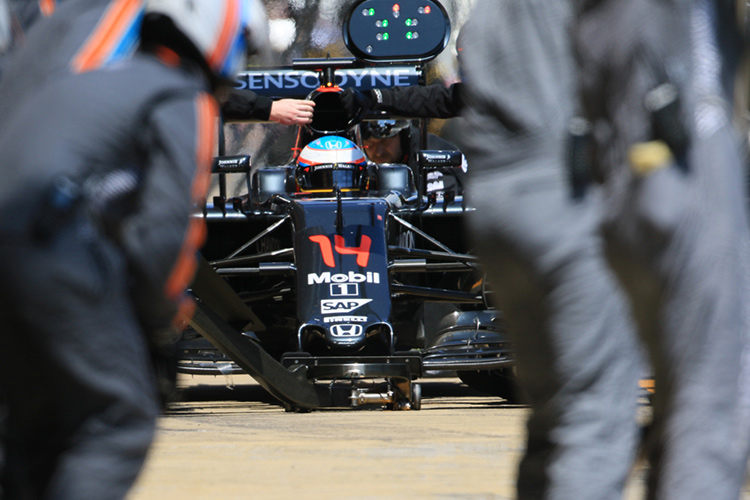 Alonso on a routine pitstop prior to his retirement - Credit: Octane Photographic