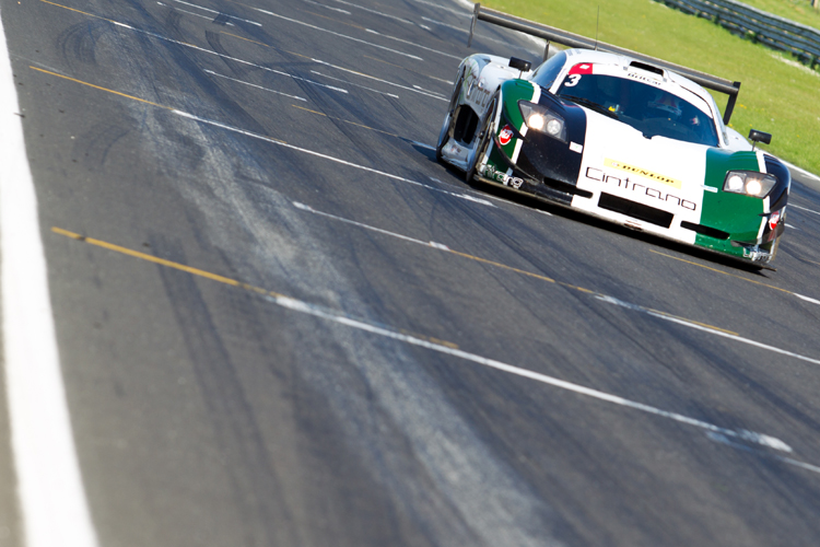 The Neil Garner Mosler on the Senna Straight at Snetterton during the Britcar Endurance meeting.