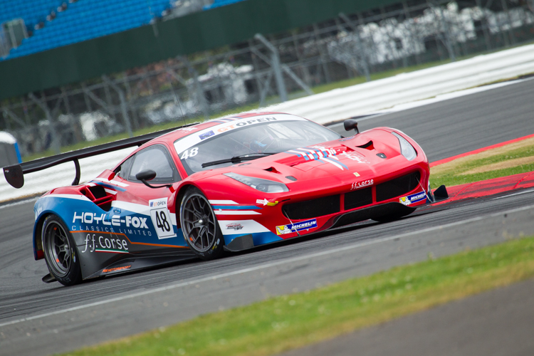 The FF Corse Ferrari 488 GT3 qualified in pole position and was a podium contender until the late stages of the race (Credit: Nick Smith/TheImageTeam.com)