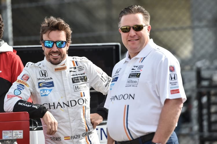Fernando Alonso (ESP), Zak Brown (USA), 2017 Verizon IndyCar Series, Andretti Autosport McLaren Racing, Indianapolis 500, Verizon IndyCar Series