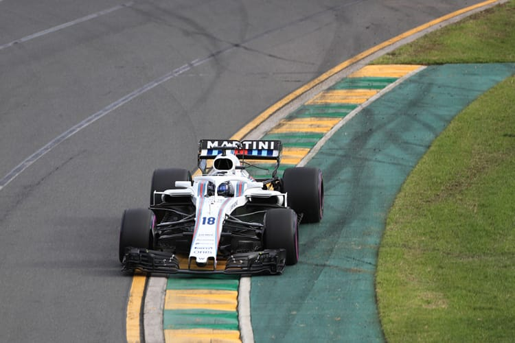 Lance Stroll drives a Williams Martini Racing car through the second turn of Australia's Albert Park circuit