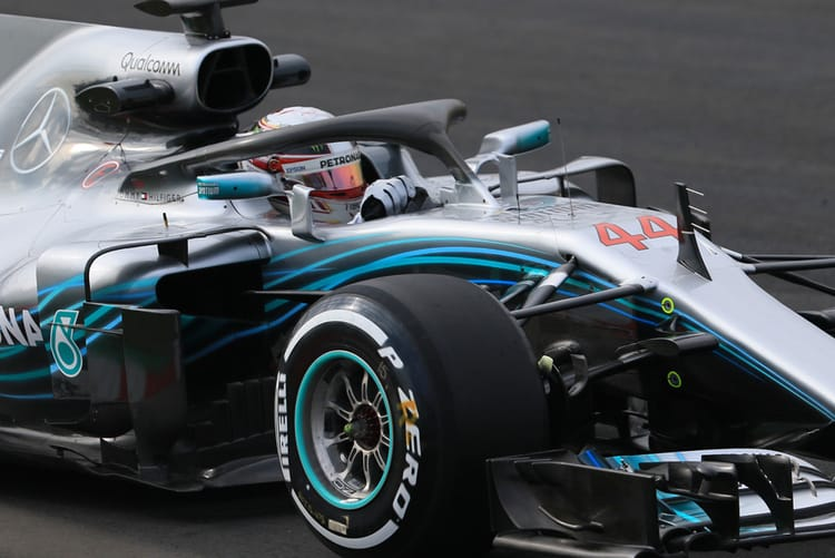 Hamilton driving in the 1st Barcelona Test
