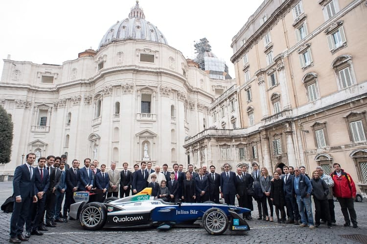 Formula E grid outside the Vatican ahead of Rome ePrix