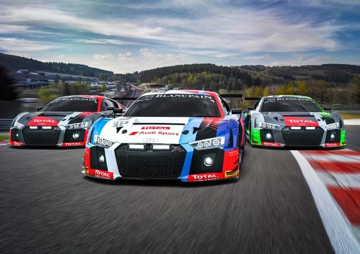 Audi R8 LMS #1 (Audi Sport Team WRT), Christopher Mies/Alex Riberas/Dries Vanthoor; Audi R8 LMS #25 (Audi Sport Team Saintéloc), Christopher Haase/Frédéric Vervisch/Markus Winkelhock; Audi R8 LMS #2 (Audi Sport Team WRT), Robin Frijns/Nico Müller/René Rast
