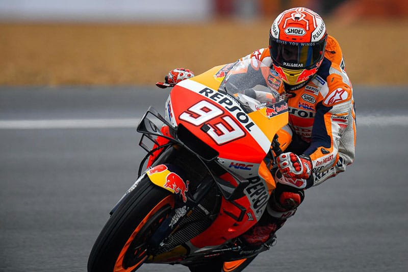 Marc Marquez masters tricky conditions to take Le Mans Pole