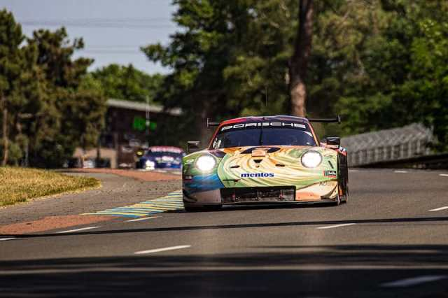 The Team Project 1 #56 LM GTE Am entry for the 2019 24 Hours of Le Mans