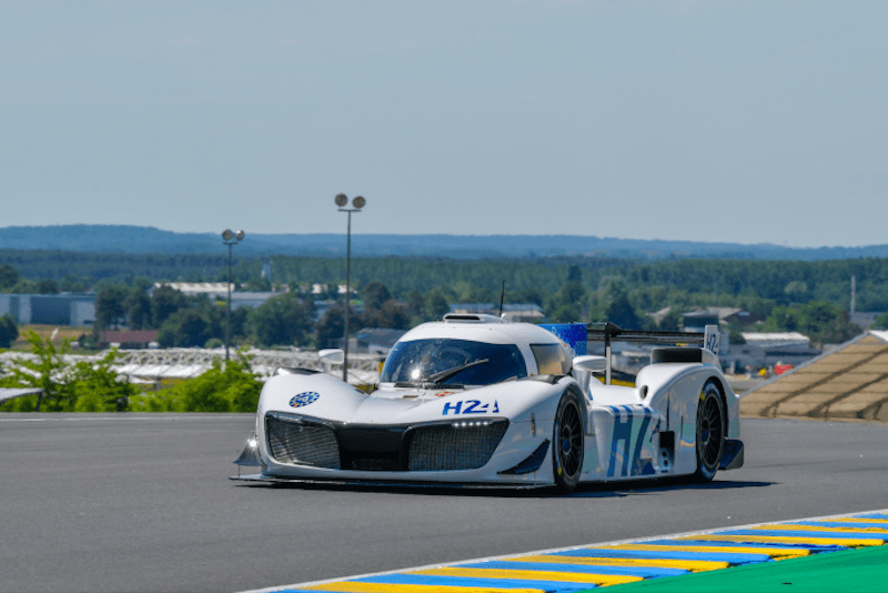 The H24 Racing LMPH2G hydrogen-powered prototype set its first on track laps at the 24 Hours of Le Mans test day.