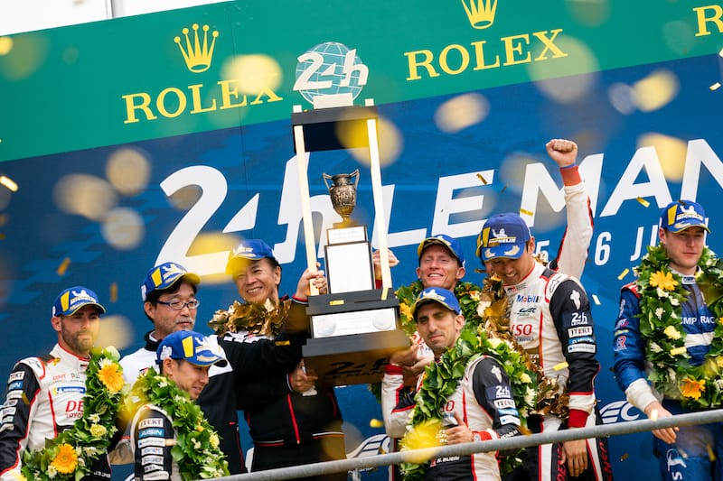 Le Mans winning Toyota Gazoo Racing team on the podium